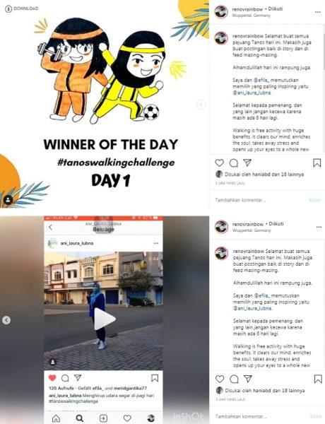 pemenang olahraga jalan kaki tanos hari pertama